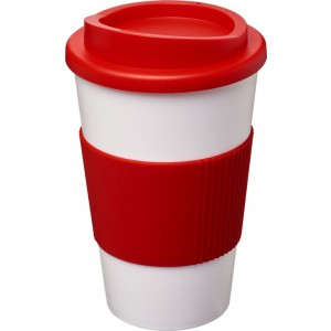 Americano<sup>®</sup> 350 ml insulated tumbler with grip, White,Red (21000210)