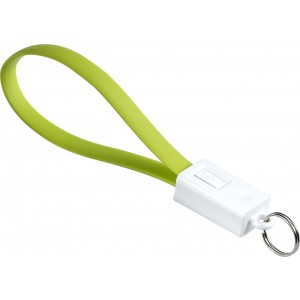 Charging cable and key holder in one, lime (Eletronics cables, adapters)