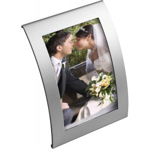 Curved metal photo frame, Silver (2727-32)