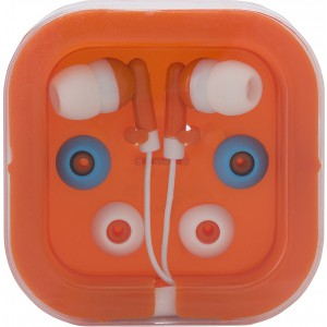 Earphones with two spare sets of buds, Orange (2289-07)