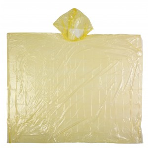 Foldable translucent poncho, yellow (9504-06CD)