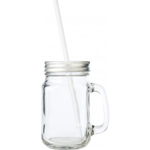 Glass mason drinking jar with handle (480ml), neutral (5964-21CD)
