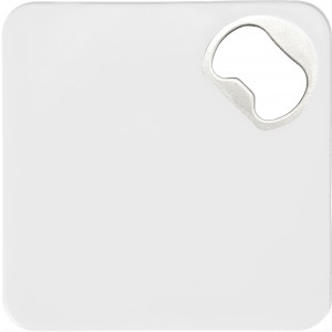 HIPS Coaster with bottle opener, White (7769-02)