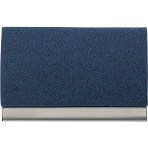 Horizontal, curved business card holder, blue (7229-05)