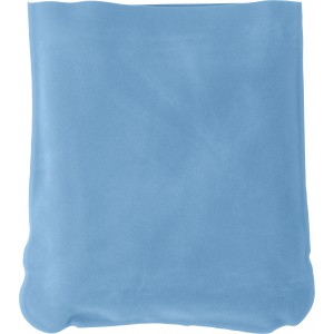 Inflatable velour travel cushion, Pale blue (9651-18)