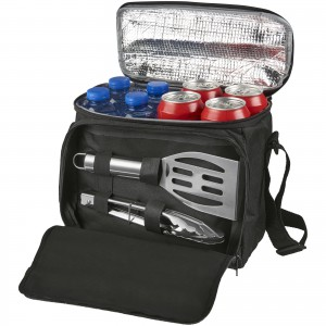 Mill 2-piece bbq set with cooler bag, solid black, 25 x 14 x (13002200)