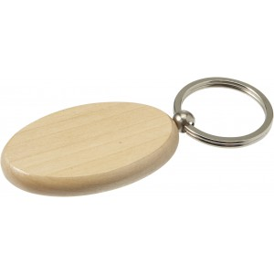 Oval wooden key holder with metal ring, Brown (7300-11)