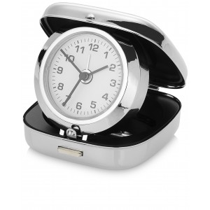 Pisa pop-up alarm clock with pouch, silver (19733618)