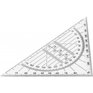 Plastic 45° set square, neutral (2413-21)