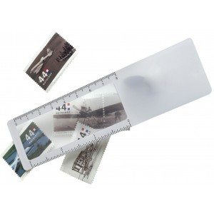 Plastic ruler with magnifier, White (7702-02)