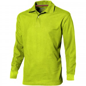 Point long sleeve men's polo, Apple Green (3310668)