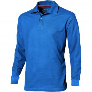 Point long sleeve men's polo, Sky blue (3310642)