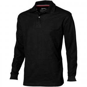Point long sleeve men's polo, solid black (3310699)