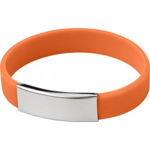 Silicone wristband with metal plate., Orange (2280-07)
