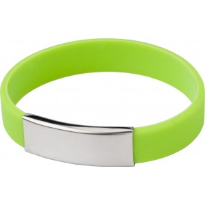 Silicone wristband with metal plate., Pale green (2280-29)
