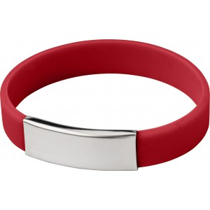Silicone wristband with metal plate., Red (2280-08)