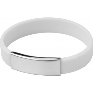 Silicone wristband with metal plate., White (2280-02)