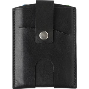 Split leather RFID credit card wallet, Black (8022-01)