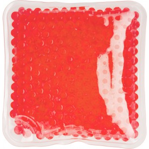 Square shaped plastic hot/cold pack, red (7413-08)