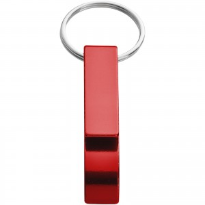 Tao alu bottle and can opener key chain, red, 5,5 x 1 x 1,5 (metal keyholder)