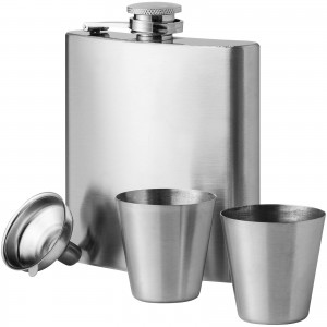 Texas hip flask with cups, grey, 18,5 x 12,5 x 2,5 cm (19544305)