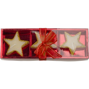 Three star-shaped candles, Red (5188-08)