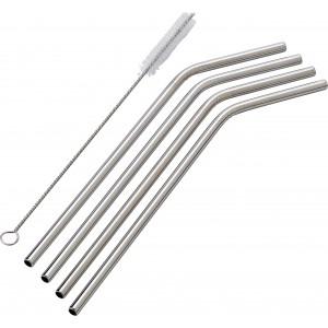 Four stainless steel straws, silver (8236-32)